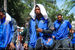 Gator DB Loucheiz Purifoy follows his teammates into the stadium.  Gators vs Tennessee Volunteers.  September 21, 2013.