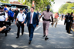Coach Will Muschamp walks down University Avenue toward the stadium for the Tennessee game.  Gators vs Tennessee Volunteers.  September 21, 2013.