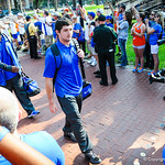 The gator players make the entrance into the stadium during the Gator Walk.  Gators vs. Toledo. 8-31-13.