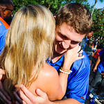 QB Jeff Driskel hugs a fan during the Gator Walk.  Gators vs. Toledo. 8-31-13.
