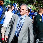 Coach Pease during the Gator Walk. Gators vs. Toledo. 8-31-13.