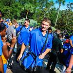 The gator players make the entrance into the stadium during the Gator Walk.  Gators vs. Toledo. 8-31-13.