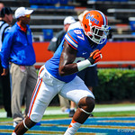 WR A.J. Mobley sprints downfield during warm ups.  Gators vs Toledo.  8-31-13.