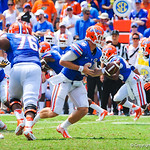 QB Jeff Driskel hands the ball off.  Gators vs Toledo.  8-31-13.