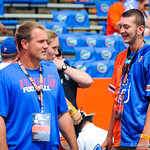Gator recruits watch on as the gator football players warm up.  Gators vs Toledo.  8-31-13.