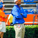Chris Leak watches as the QBs warm up.  Gators vs Toledo.  8-31-13.