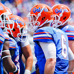 QB Jeff Driskel in the huddle.  Gators vs Toledo.  8-31-13.