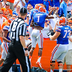 The gator offense celebrates the touchdown.  Gators vs Toledo.  8-31-13.