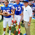 LS Kyle Crofoot watches the jumbotron.  Gators vs Toledo.  8-31-13.