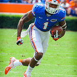 WR Quinton Dunbar catxhes the ball and runs downfield.  Gators vs Toledo.  8-31-13.