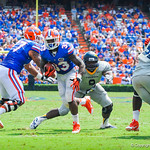 RB Mack Brown rushes downfield.  Gators vs Toledo.  8-31-13.