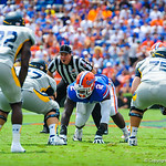 DL Dominique Easley lines up for the play.  Gators vs Toledo.  8-31-13.