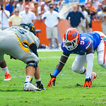 DL Bryon Cox Jr. lines up for the play.  Gators vs Toledo.  8-31-13.