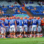 The gators huddle up during warm ups.  Gators vs Toledo.  8-31-13.