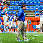 Coach Will Muschamp watches on during gator warm ups.  Gators vs Toledo.  8-31-13.