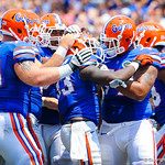 The gator offense celebrates the Mack Brown touchdown.  Gators vs Toledo.  8-31-13.
