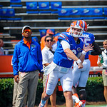 QB Jeff Driskel warming up before the Toledo game as Chris Leak watches on.  Gators vs Toledo.  8-31-13.