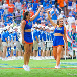 The gator cheerleaders cheer on as the gators prepare to take the field.  Gators vs Toledo.  8-31-13.
