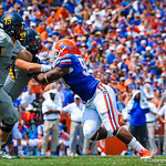 DL Jonathan Bullard is double teamed.  Gators vs Toledo.  8-31-13.