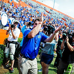 Coach Muschamp comes over to thank the band and fans.  Gators vs Toledo.  8-31-13.