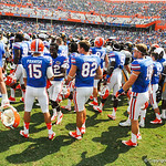The gators celelbrate winning the game.  Gators vs Toledo.  8-31-13.