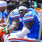DL Bryan Cox Jr. looks up at the jumbotron.  Gators vs Toledo.  8-31-13.