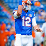 QB Max Staver warming up.  Gators vs Toledo.  8-31-13.