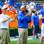 Coach Chris Leak works with the QBs before the Toledo game.  Gators vs Toledo.  8-31-13.