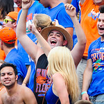 Gator fans celebrate the gator touchdown.  Gators vs Toledo.  8-31-13.