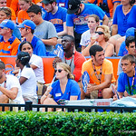 Gator recruits watch on from the sideline.  Gators vs Toledo.  8-31-13.
