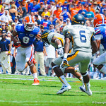 WR Trey Burton runs downfield after catching the ball.  Gators vs Toledo.  8-31-13.