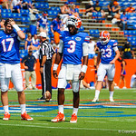 QB Tyler Murphy and QB Skyler Mornhinweg watch on during warm ups.  Gators vs Toledo.  8-31-13.