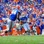 DB Vernon Hargreaves III intercepts the ball and runs downfield.  Gators vs Toledo.  8-31-13.