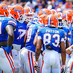 The gator offense huddles up.  Gators vs Toledo.  8-31-13.
