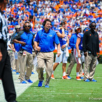 Coach Will Muschamp on thr sideline.  Gators vs Toledo.  8-31-13.