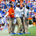 The gator coaches call in the plays.  Gators vs Toledo.  8-31-13.
