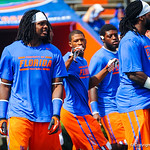 The gator football players stretch and warm up for the Toledo game.  Gators vs Toledo.  8-31-13.