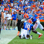 The gator defense makes the tackle.  Gators vs Toledo.  8-31-13.