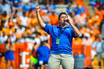 A gator announcer gets the crowd going for the start of the Tennessee game.  Gators vs Tennessee Volunteers.  September 21, 2013.