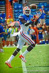 Gator WR Ahmad Fulwood makes an over the shoulder catch during warm ups for the Tennessee game.  Gators vs Tennessee Volunteers.  September 21, 2013.