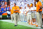 Tennessee head coach Butch Jones not looking to impressed as his Volunteers fall further behind.  Gators vs Tennessee Volunteers.  September 21, 2013.