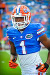 WR Quinton Dunbar getting hyped up for the game against Tennessee during warm ups.  Gators vs Tennessee Volunteers.  September 21, 2013.