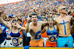 Gator fans cheer on their team during the Tennessee game.  Gators vs Tennessee Volunteers.  September 21, 2013.