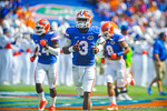 QB Tyler Murphy runs out onto the field for the start of the Tennessee game.  Gators vs Tennessee Volunteers.  September 21, 2013.