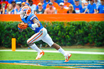 Gator DB Loucheiz Purifoy takes the kickoff and runs out of the endzone.  Gators vs Tennessee Volunteers.  September 21, 2013.