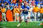 Gator QB Jeff Driskel scrambles in the backfield looking for an open receiver downfield.  Gators vs Tennessee Volunteers.  September 21, 2013.