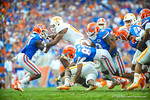 The gator special teams comes up with the tackle.   Gators vs Tennessee Volunteers.  September 21, 2013.