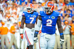 Dominique Easley and Ronald Powell prepare for the next snap of the ball by the Tennessee offense.  Gators vs Tennessee Volunteers.  September 21, 2013.