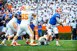 Gator QB Jeff Driskel is tackled and injured on the play.  Driskel's injury will require him to miss the remainder of the season.  Gators vs Tennessee Volunteers.  September 21, 2013.