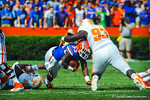 RB Mack Brown takes the handoff and tries to elude the Tennessee defense but is tackled.  Gators vs Tennessee Volunteers.  September 21, 2013.